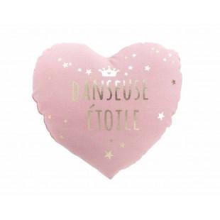 Ružový detský dekoračný vankúšik s nápisom
