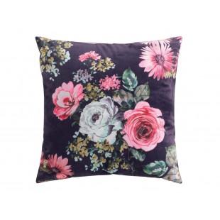 Fialový dekoračný vankúšik s kvetinovým motívom
