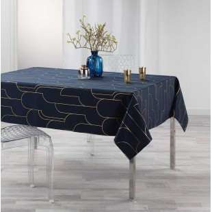 Tmavomodrý obrus na stôl so zlatým vzorom