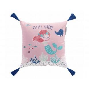 Ružový dekoračný vankúšik s morskou pannou a strapčekmi