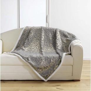 Sivá plyšová deka s leopardím vzorom