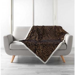 Čierna plyšová deka s leopardím vzorom