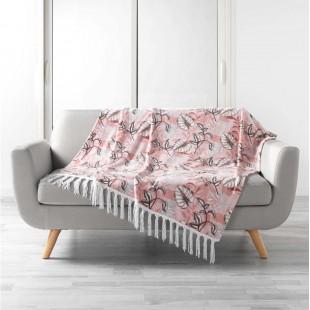 Ružová deka s rastlinným motívom a strapčekmi