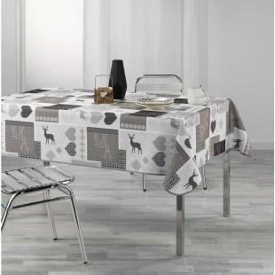 Sivý obrus na stôl so vzormi
