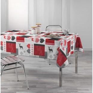Obrus na stôl s červenými vzormi