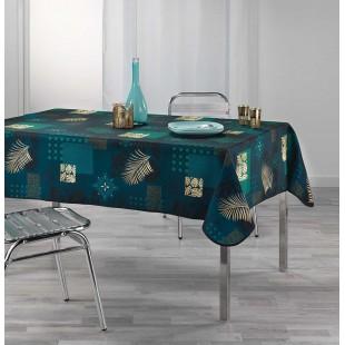 Zelený obrus na stôl so zlatým rastlinným motívom