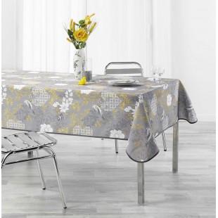Sivý obrus na stôl so žltým motívom