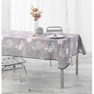 Sivý obrus na stôl s ružovým motívom