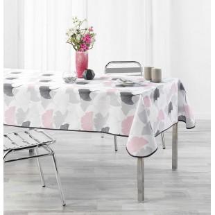 Biely obrus na stôl s ružovým rastlinným motívom