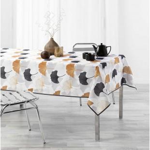 Biely obrus na stôl so zlatým rastlinným motívom