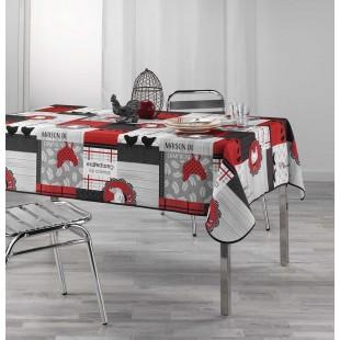 Sivo-červený vzorovaný obrus na stôl
