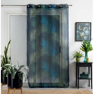 Tmavozelená záclona s rastlinným motívom