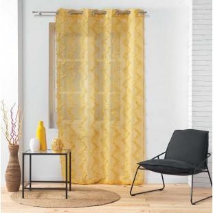 Horčicová záclona so strapčekovým cik-cak vzorom