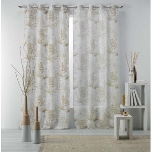 Biela vzorovaná záclona s rastlinným motívom