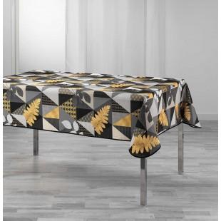 Sivý vzorovaný obrus na stôl so zlatým motívom