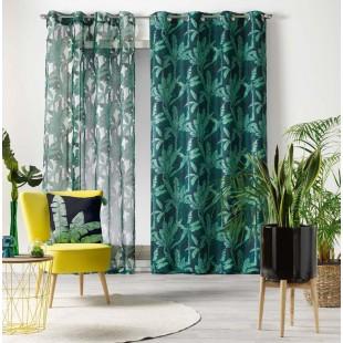 Zelená záclona s rastlinným motívom na kruhy