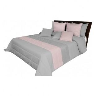 Pruhovaný sivo ružový prehoz na posteľ