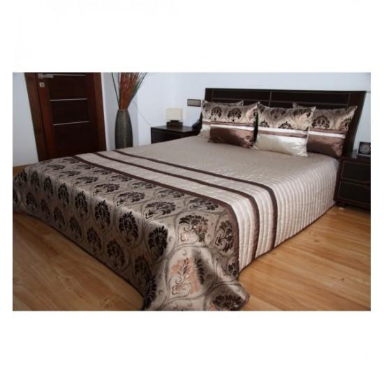 Prešívaný prehoz na posteľ v béžovo medeno hnedej farbe s elegantným vzorom