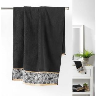 Čierny bavlnený kúpeľňový ručník so vzorom