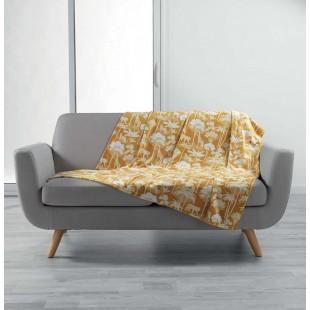 Žltá príjemná deka s tropickým motívom