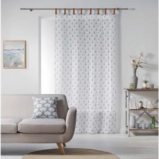 Biela vzorovaná záclona s koženými pútkami