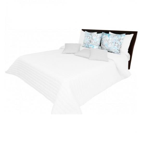 Jednofarebný biely prehoz na posteľ s pruhovaným prešívaním