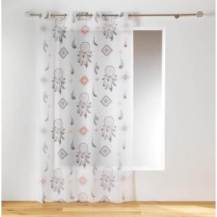 Biela záclona so vzorom lapačov snov