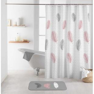 Biely kúpeľňový záves s motívom pierok
