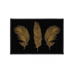 Čierny dekoračný koberček s motívom zlatých pierok