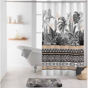 Biely kúpeľňový záves s čiernym vzorom a rastlinným motívom