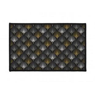 Čierny vzorovaný dekoračný koberček