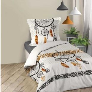 Biela bavlnená posteľná obliečka s motívom lapačov snov