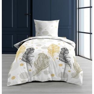 Biela vzorovaná posteľná obliečka s motívom pierok