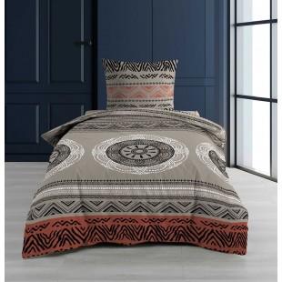 Béžová bavlnená vzorovaná posteľná obliečka