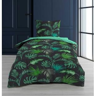 Zelená posteľná obliečka s rastlinným motívom