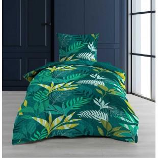 Zelená bavlnená posteľná obliečka s rastlinným motívom