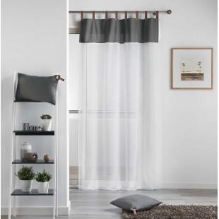 Biela priehľadná záclona so sivým pásom