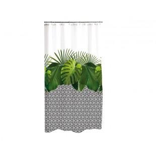 Biely vzorovaný kúpeľňový záves s rastlinným motívom