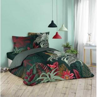 Zelená bavlnená posteľná obliečka s farebným rastlinným motívom