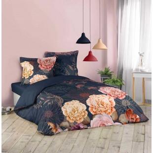 Tmavomodrá bavlnená posteľná obliečka s kvetinovým motívom