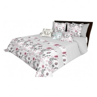 Moderný sivo biely prešívaný prehoz na posteľ s ružovými kvetmi