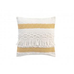Biely dekoračný vankúš so žltým vzorom a strapčekmi