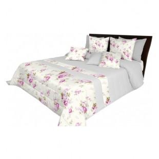 Sivo krémová prešívaná prikrývka na posteľ s ružami