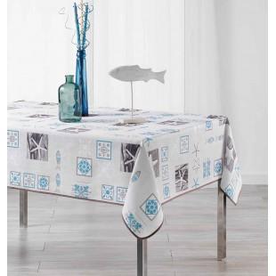 Biely obrus na stôl s modrým vzorom