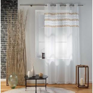 Biela záclona s béžovým cik-cak vzorom na kruhy