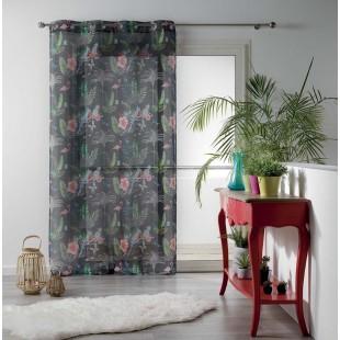 Tmavosivá záclona s farebným tropickým motívom