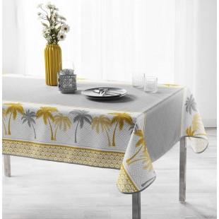 Sivo-biely obrus na stôl s motívom žltých paliem