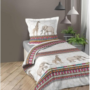 Biela vzorovaná posteľná obliečka so slonom a žirafou