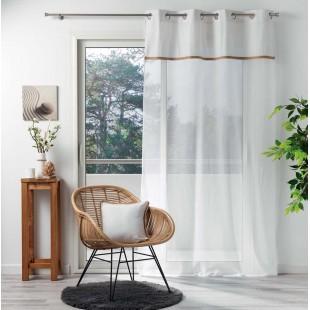 Biela priehľadná záclona s ozdobným pásom na kruhy