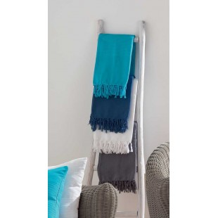 Modrá bavlnená deka so strapčekmi